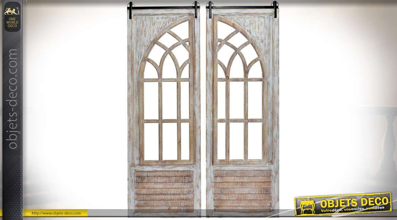 Diptyque en bois et métal en forme de fenêtre ancienne en arcade 156 cm