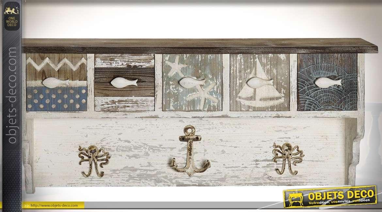 Etagère murale en sapin vieilli avec 5 tiroirs ornementation bord de mer 98 cm