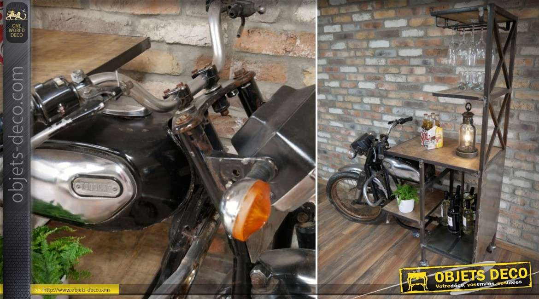 Meuble bar industriel et rétro en forme d'ancienne moto 180 cm