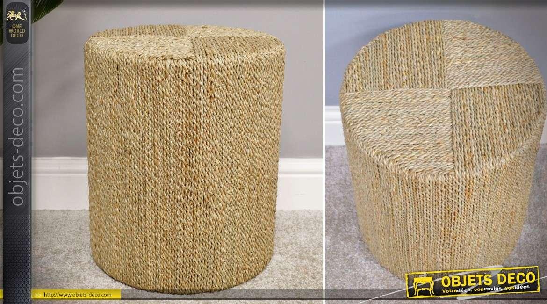 Pouf cylindrique avec habillage en rotin d'herbier naturel 40 cm