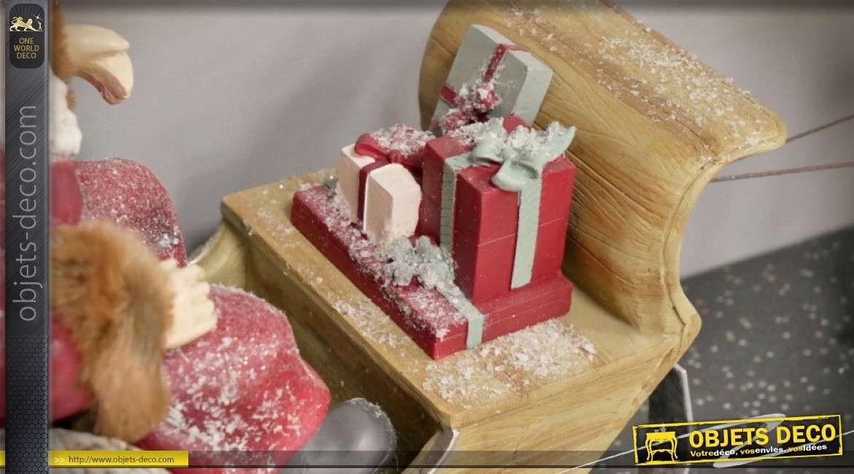 Grande décoration de Noël, Père-Noël en traineau avec cerf 75 cm
