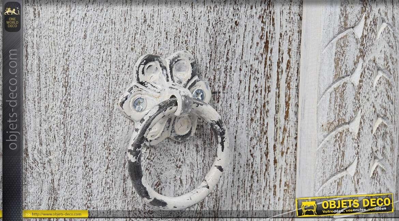 Buffet bas à 2 portes style indien manguier massif patine blanche 100 cm