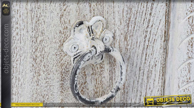 Buffet enfilade 4 portes style indien manguier patine blanche vieillie 190 cm