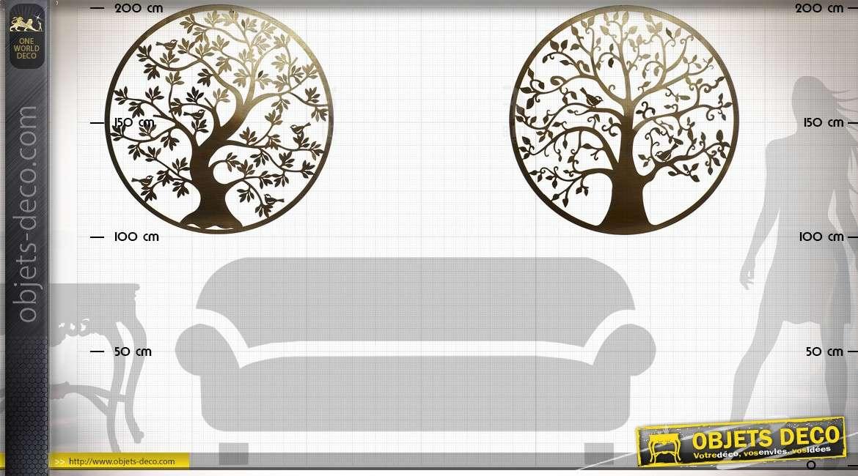 Duo de grandes décorations murales en métal d'arbres stylisés Ø 100 cm