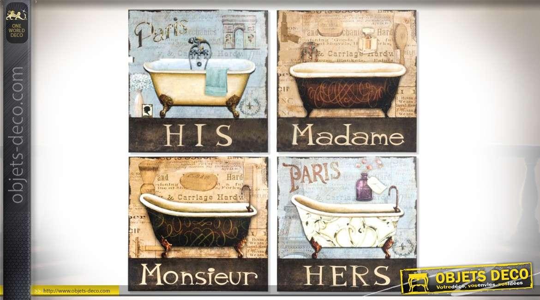 Série de 4 plaques décoratives rétro en métal thème salle de bain 30 x 30 cm