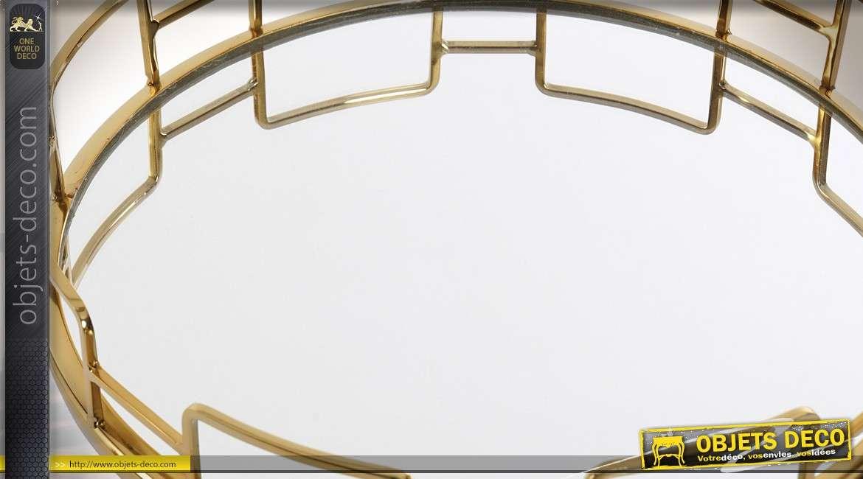 Plateau centre de table design circulaire en métal doré et miroir Ø 30,5 cm