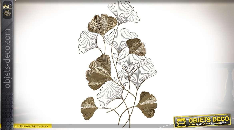 Grande décoration murale florale luxueuse en métal doré 127 cm