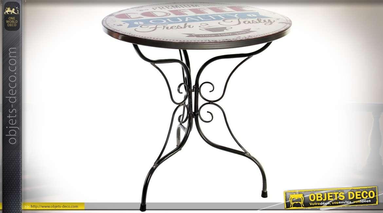 Table bistrot ronde Ø 80 cm en métal avec illustrations vintages
