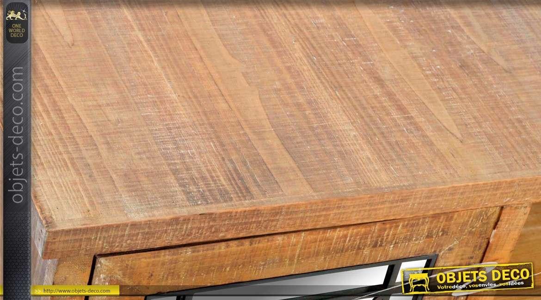 Meuble TV rustique en bois et métal avec 2 portes latérales 140 cm