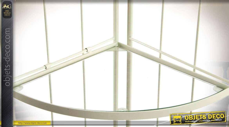Etagère d'angle façon fer forgé patine crème 4 tablettes en verre 170 cm