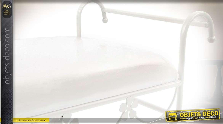 Chaise Dagobert blanc métal laqué style fer forgé avec coussin 74 cm