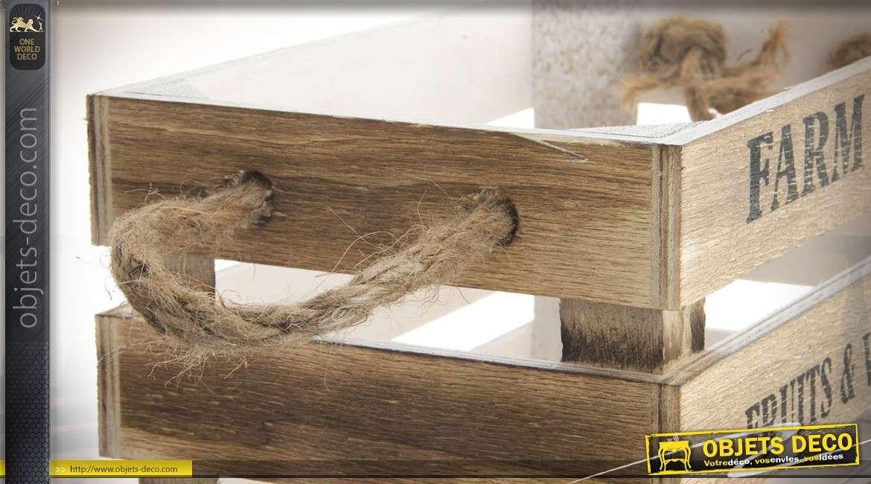 Série de 4 caisses de maraîcher en bois vieilli à vocation décorative 40 x 30 cm