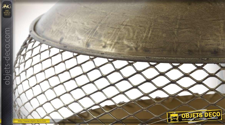 Bougeoir métal doré forme lanterne rétro à poser ou suspendre Ø 33 cm