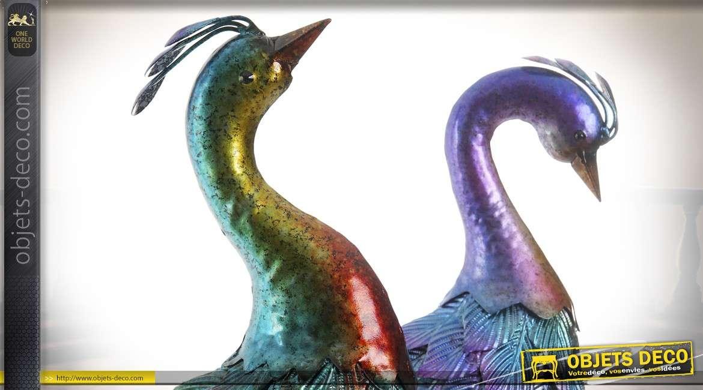 Duo de paons d'ornementation métal teintes irisées vert et violet 66 cm