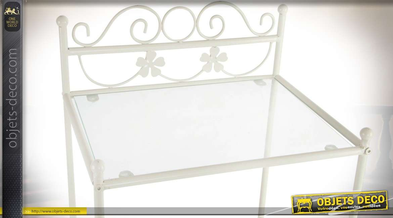 Table de chevet en métal et verre style romantique patine blanche 73 cm