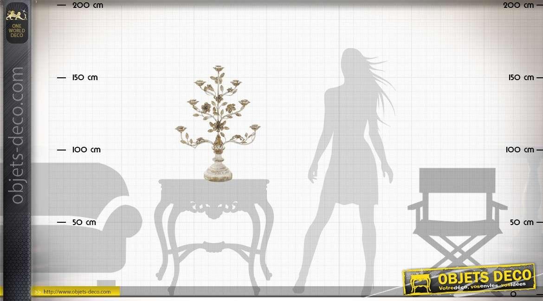 Grand chandelier bois et métal baroque fleurs et feuillages dorés 82 cm