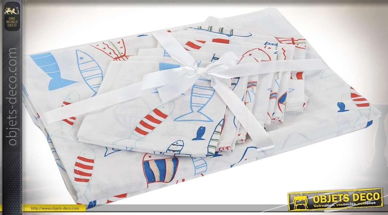 Grande nappe 250 cm coton motifs poissons stylisés avec serviettes de table assorties