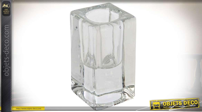 Lot de 12 supports en verre épais pour bougies et chandelles 8 cm