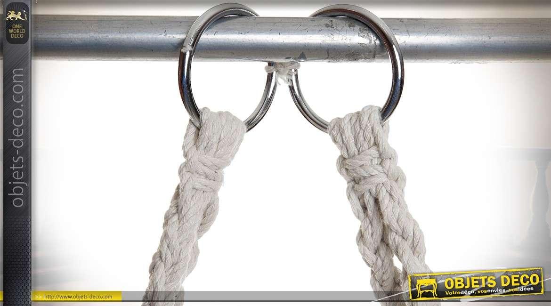 Fauteuil suspendu en cordage de coton écru tressé forme ronde 135 cm