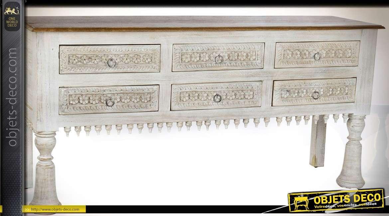 Console à 6 tiroirs style mobilier ethnique en manguier sculpté 157 cm
