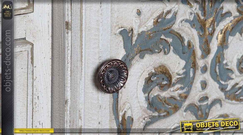 Buffet rustique blanc vieilli esprit déco brocante à deux portes et 3 tiroirs 134 cm