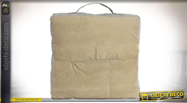 Coussin de sol vintage en coton épais écru et cuir style vintage 43 x 43 cm