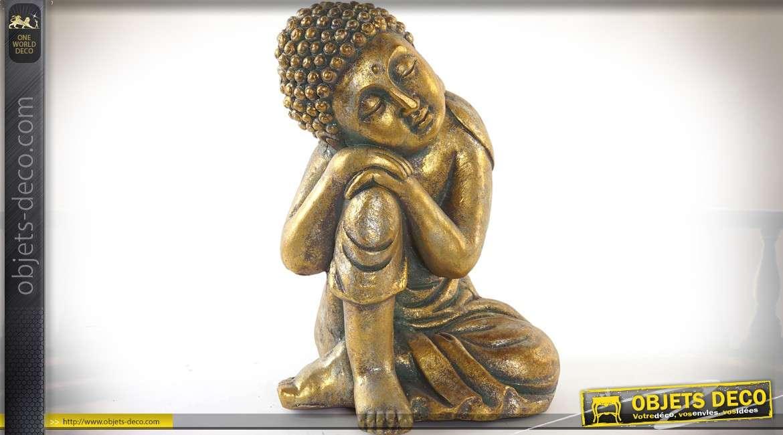 Statuette de bouddha doré effet vieilli 40 cm