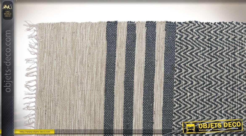 Tapis de style ethnique en coton et jute coloris crème et noir 180 x 120 cm