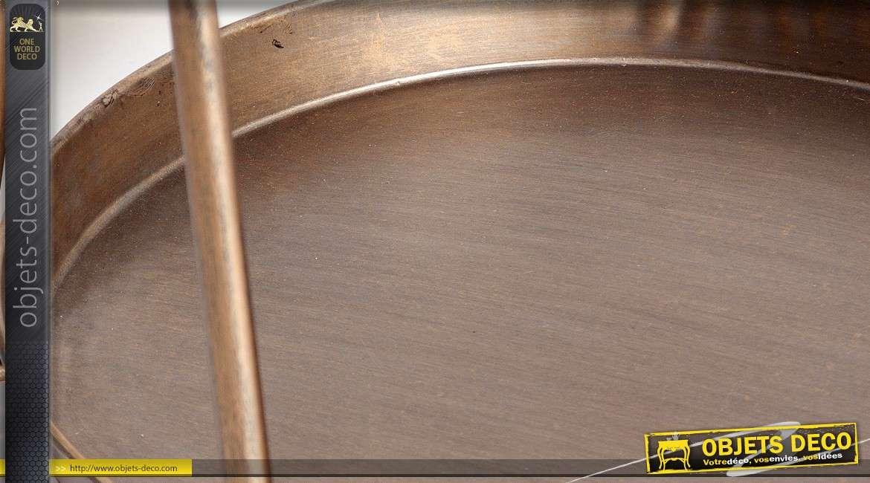 Plateau centre de table circulaire avec portique en métal patine vermeil 50 cm