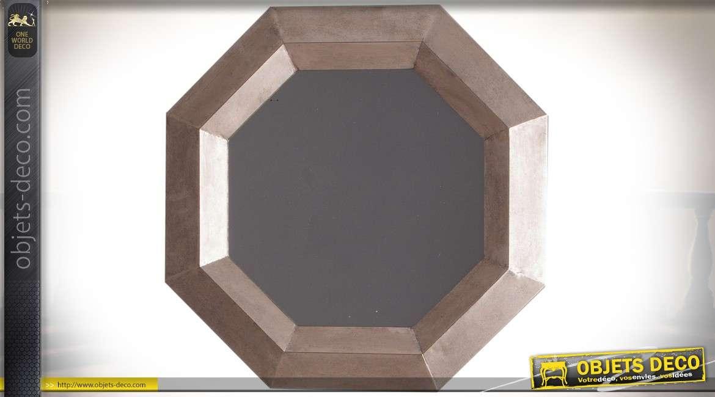 Miroir octogonal en métal finition vermeil cuivré de style industriel Ø 58 cm