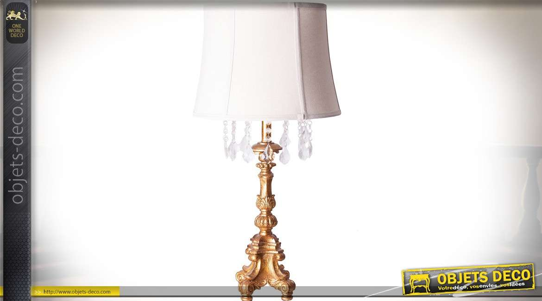 Lampe de salon classique pied finition dorure et abat-jour blanc en lin 76 cm