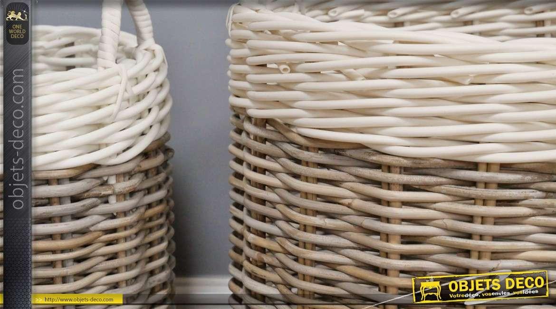 Serie de deux corbeilles en rotin, couleur naturel et blanc, avec hanses de transport