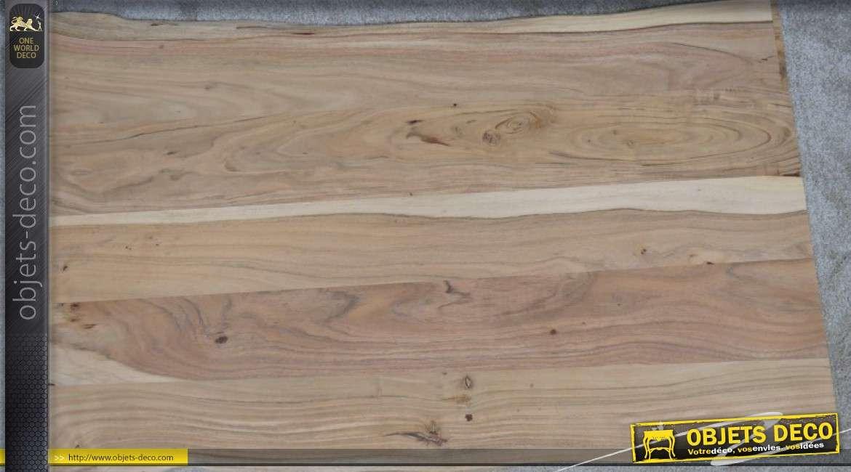 Plateau en bois d'acacia pour table rectangulaire de 130 x 80 cm