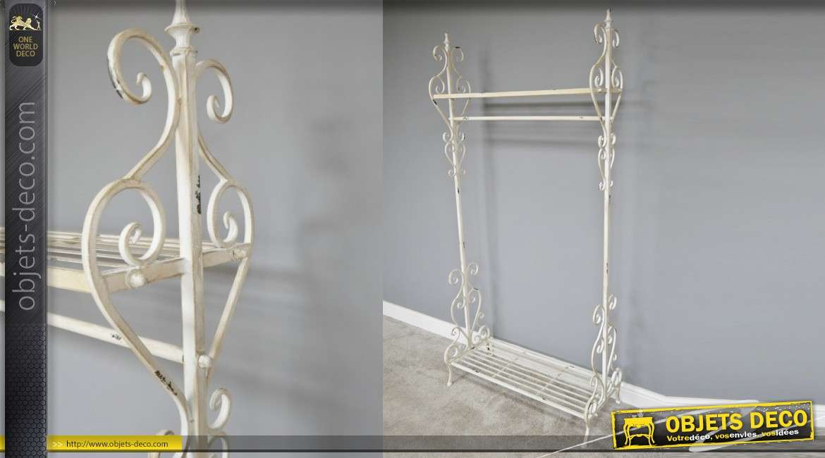 Porte manteau en métal style fer forgé, inspirations baroques finitions blanc antique