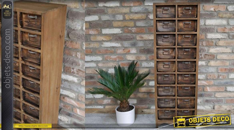 Meuble d'appoint en bois, 18 tiroirs finitions vieillie avec poignées grises ou argentées