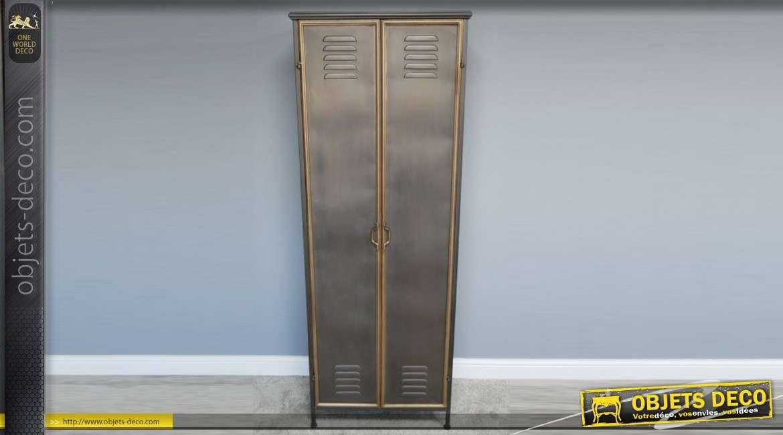 Armoire haute en métal style industriel, 2 portes d'inspirations vestiaire