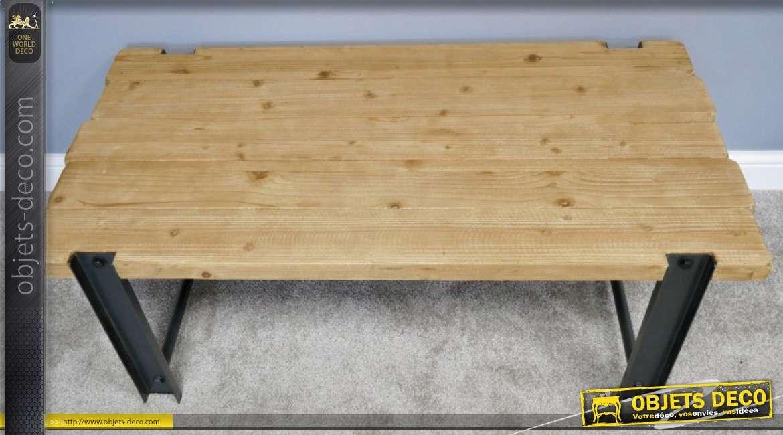 Table Basse En Bois De Sapin Et Pieds En Metal Style Poutre D Usine