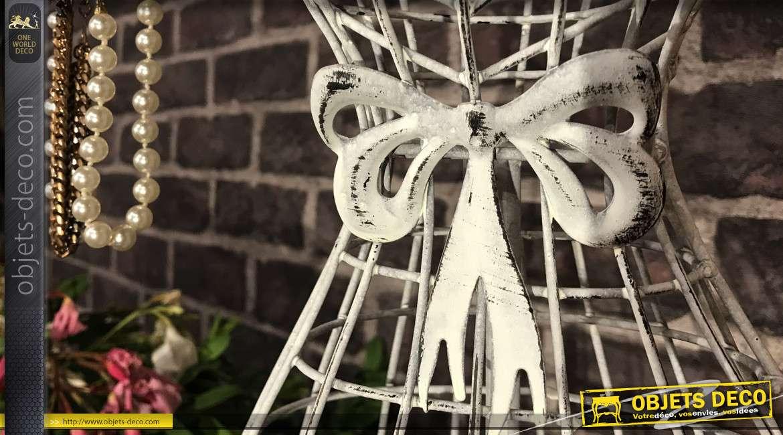 Mannequin porte bijoux décoratif en fer forgé finition blanc ancien écaillé noir