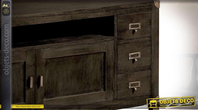 Meuble TV industriel bois et métal 6 tiroirs 2 portes et niche centrale 160 cm