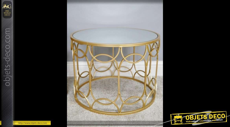 Set de deux tables basses rondes design en métal doré et miroir Ø 60 cm