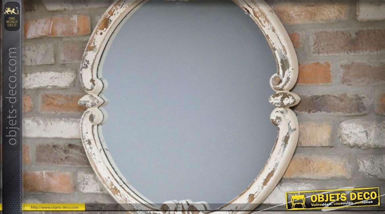 Miroir rond rustique en bois sculpté patine blanche vieillie Ø 68 cm