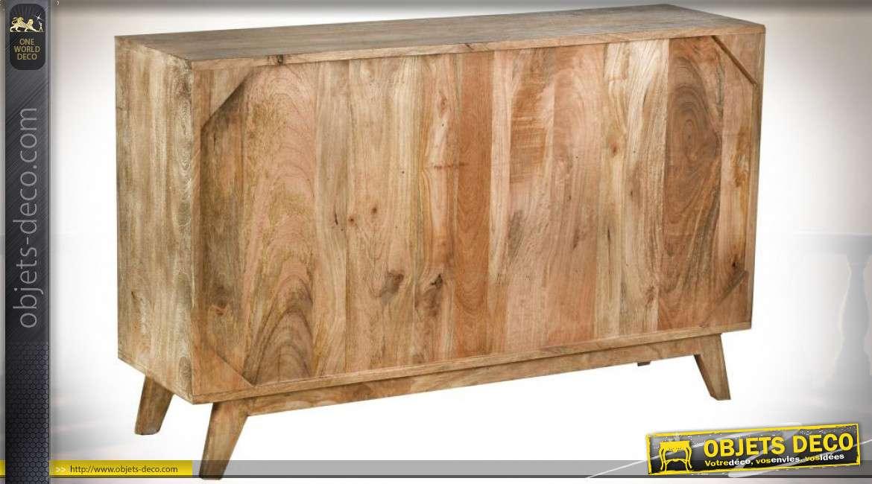 Commode / buffet en manguier asymétrique style rétro et rustique 120 cm / 62 kg