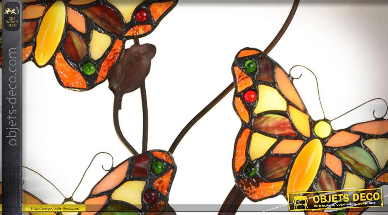 Applique murale Tiffany nuée de papillons 68 cm
