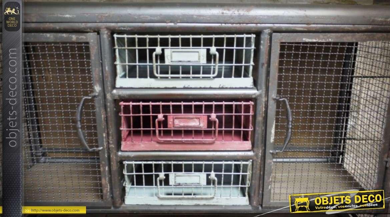 Buffet industriel en métal grillagé 2 portes et 3 tiroirs 103 cm