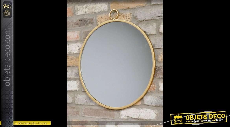 Miroir mural rond doré suspendu en métal de style rétro Ø 50 cm