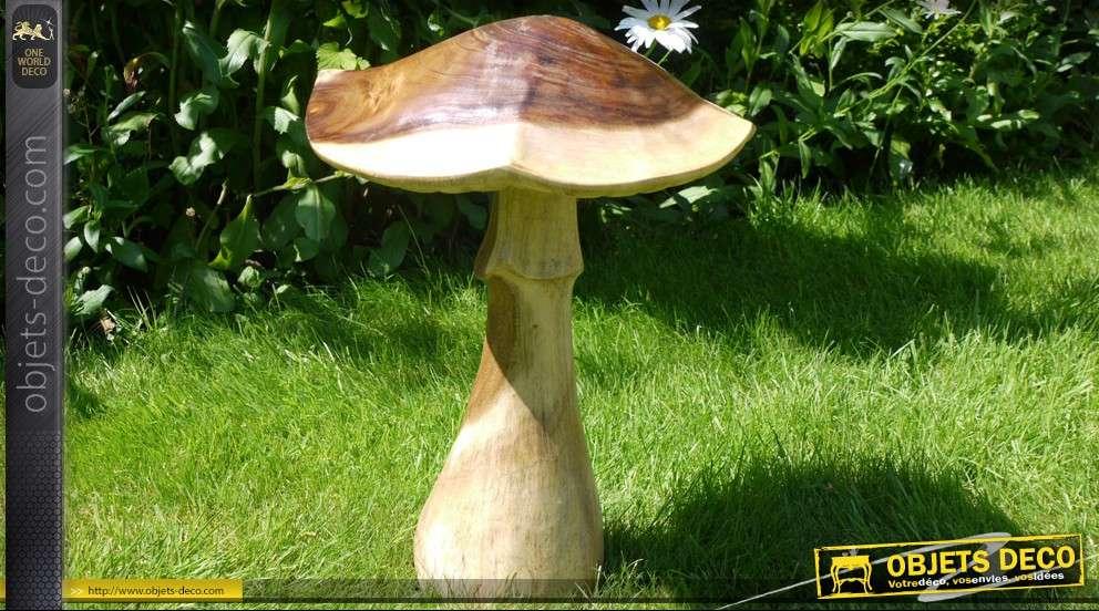sculpture en bois d 39 un champignon 51cm. Black Bedroom Furniture Sets. Home Design Ideas