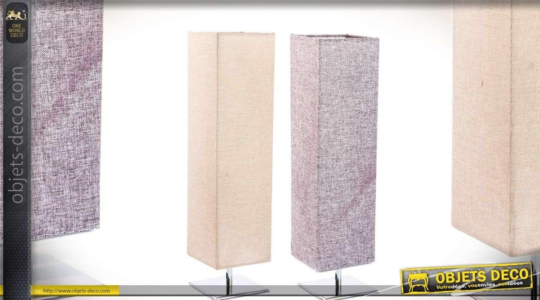 Duo de lampes de salon ou de bureau en inox chromé et tissu 58 cm