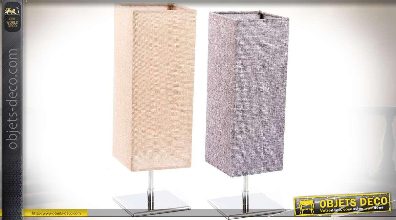 Lampes design chromées abat-jour en colonnes carrées tissu gris et coloris lin écru