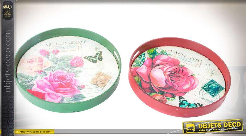 Duo de plateaux circulaires Ø 33 cm coloris vert et rouge à motifs de roses