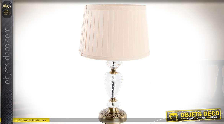 Lampe de table chic et rétro pied métal bronze doré et abat-jour tissu plissé